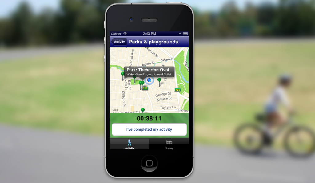 Screenshot of the LocalActive app created over a weekend for GovHack 2013.