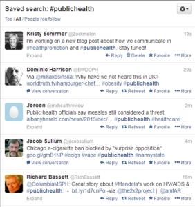 Public health twitter feed