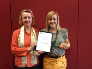 Kristy receiving the Primary Health Care Practitioner Award 2014. Pictured with Janette Young, AHPA SA President