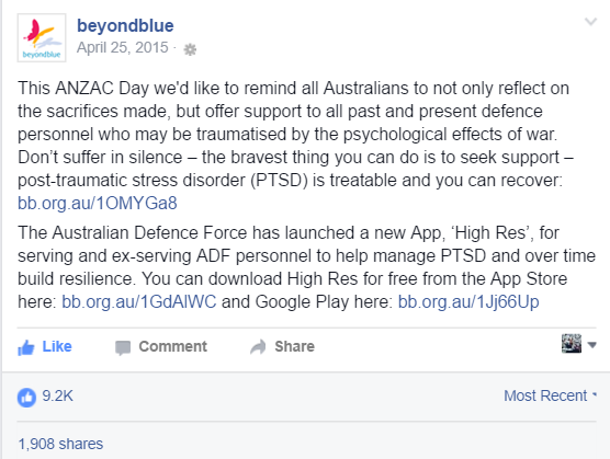 An example of an appropriate Anzac Day post from Beyond Blue, sharing information about a new app for PTSD launched by the Australian Defence Force.