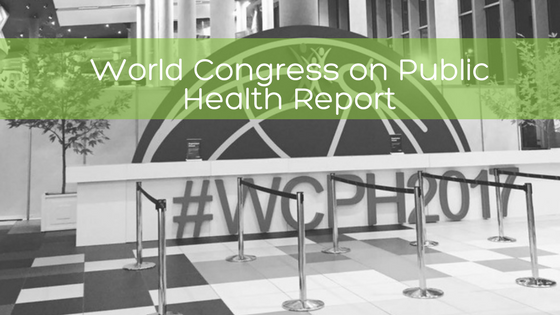 World Congress on Public Health Blog graphic contains image of welcome desk with #WCPH2017