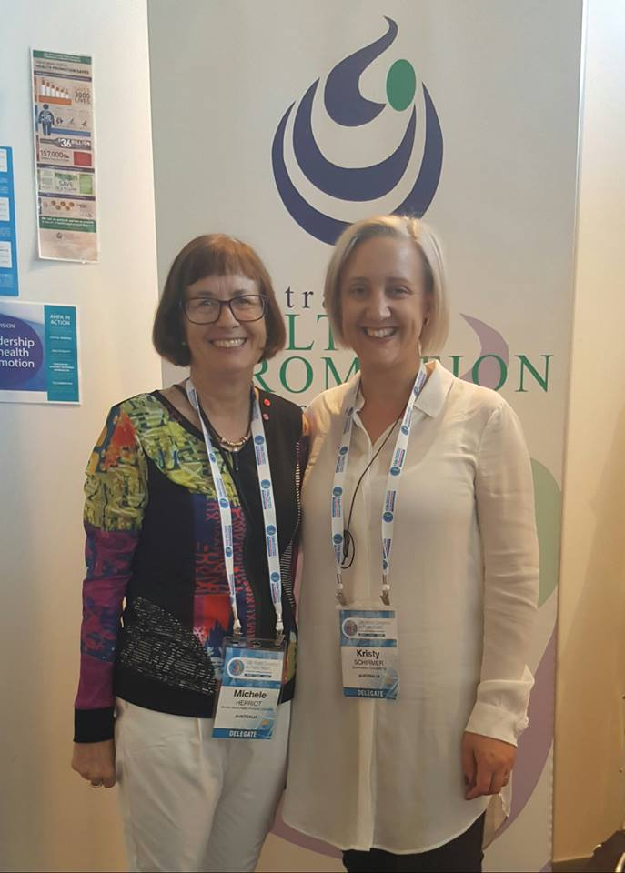 Australian Health Promotion Association SA Branch Scholarship Winners Michele Herriot and Kristy Schirmer