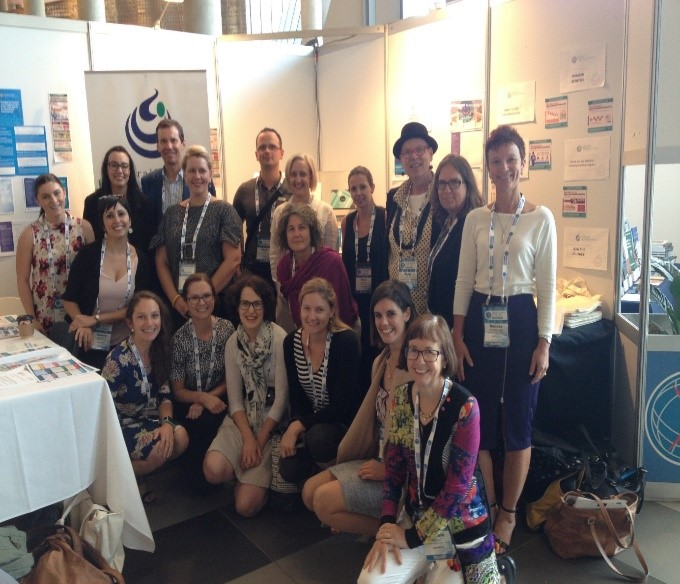 Group photo of Australian Health Promotion Association Members at the AHPA stall at the World Congress on Public Health