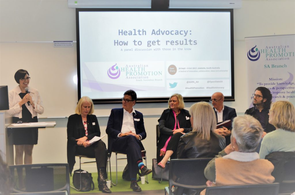 Pictured left to right: Dr Stefania Velardo (APHA SA President), Professor Fran Baum, Rev Peter Sandeman, Dr Jennifer Bowers, Ian Cox, Pas Forgione.